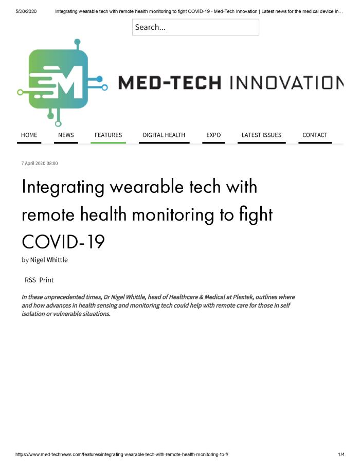 Integrating wearable tech with remote health monitoring to fight COVID-19