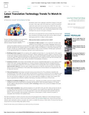 Latest Translation Technology Trends To Watch In 2020