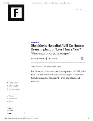 "Elon Musk: Neuralink Will Do Human Brain Implant in ""Less Than a Year"""