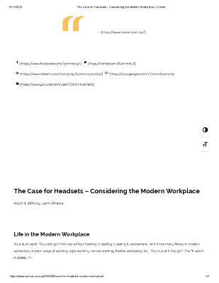 The Case for Headsets - Considering the Modern Workplace