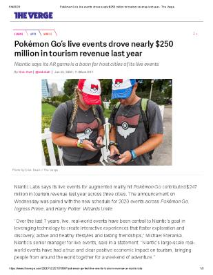 Pokémon Go's live events drove nearly $250 million in tourism revenue last year