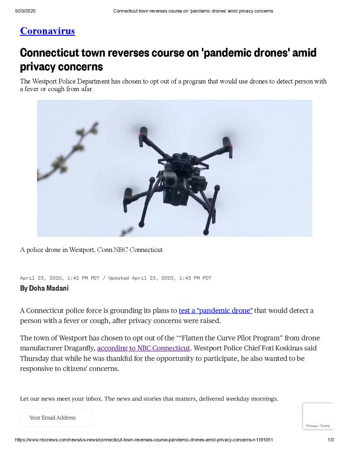 Connecticut town reverses course on 'pandemic drones' amid privacy concerns
