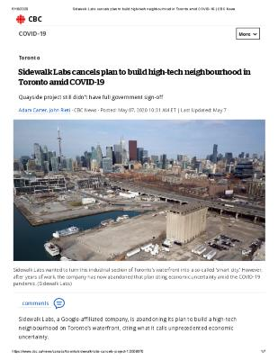 Sidewalk Labs cancels plan to build high-tech neighbourhood in Toronto amid COVID-19