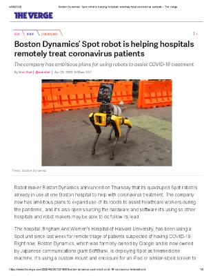 Boston Dynamics' Spot robot is helping hospitals remotely treat coronavirus patients