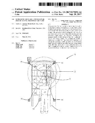 ULTRASONIC BRACELET AND RECEIVER FOR DETECTING POSITION IN 2D PLANE (Patent US20170278051A1)