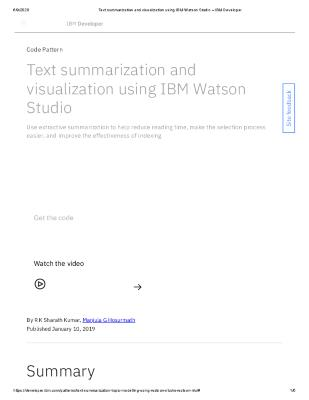 Text summarization and visualization using IBM Watson Studio