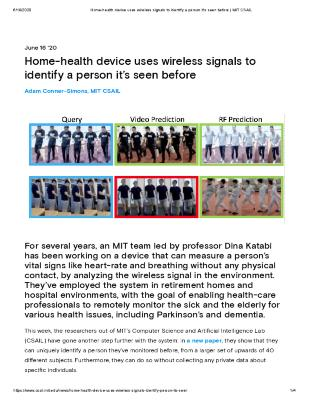Home-health device uses wireless signals to identify a person it's seen before