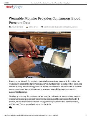 Wearable Monitor Provides Continuous Blood Pressure Data
