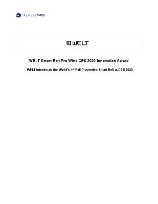 WELT Smart Belt Pro Wins CES 2020 Innovation Award