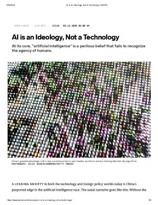AI is an Ideology, Not a Technology