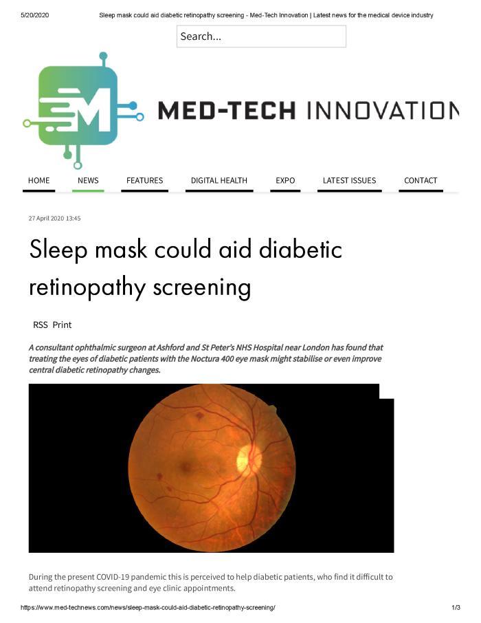 Sleep Mask Could Aid Diabetic Retinopathy Screening