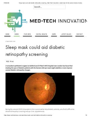 Sleep Mask Could Aid Diabetic Retinopathy Screening