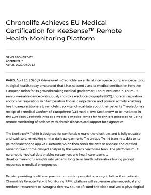 Chronolife Achieves EU Medical Certification for KeeSense™ Remote Health-Monitoring Platform