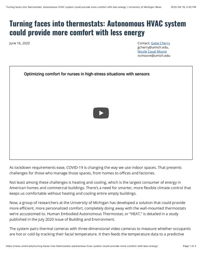 Turning faces into thermostats: Autonomous HVAC system could provide more comfort with less energy