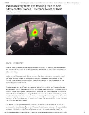 Indian military tests eye-tracking tech to help pilots control planes – Defence News of India