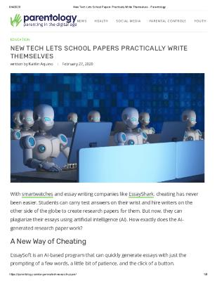 New Tech Lets School Papers Practically Write Themselves