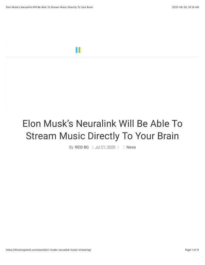 Elon Musk's Neuralink Will Be Able To Stream Music Directly To Your Brain