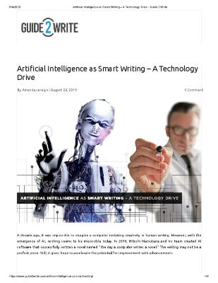 Artificial Intelligence as Smart Writing – A Technology Drive