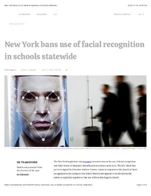 New York bans use of facial recognition in schools statewide