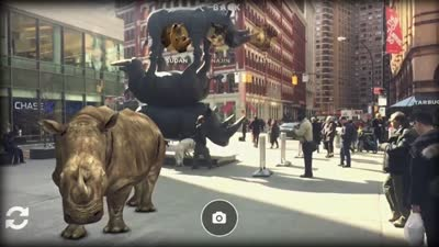 "Augmented Reality App ""Resurrecting"" the Last Three Northern White Rhinos in NYC by INDE"
