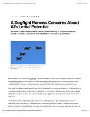 A Dogfight Renews Concerns About AI's Lethal Potential