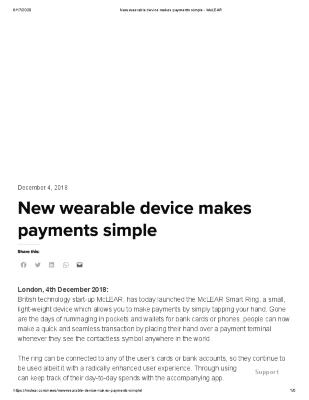 New wearable device makes payments simple