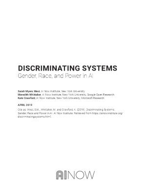 DISCRIMINATING SYSTEMS: Gender, Race, and Power in AI
