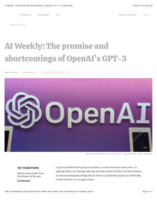AI Weekly: The promise and shortcomings of OpenAI's GPT-3