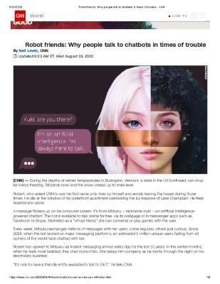 Robot friends: Why people talk to chatbots in times of trouble