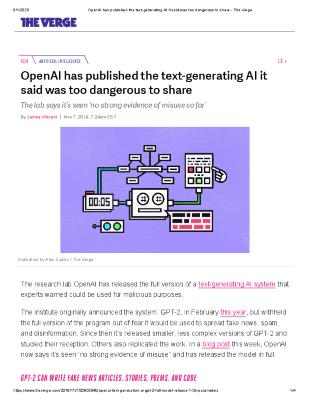 OpenAI has published the text-generating AI it said was too dangerous to share