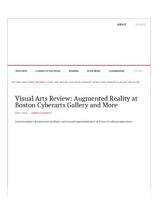 Augmented Reality at Boston Cyberarts Gallery and More