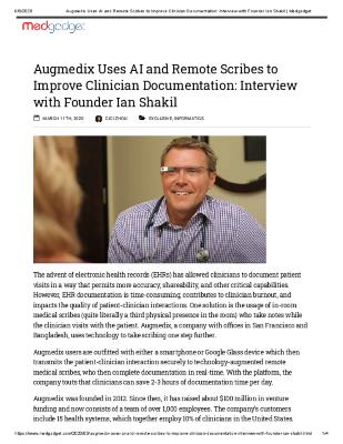 Augmedix Uses AI and Remote Scribes to Improve Clinician Documentation: Interview with Founder Ian Shakil