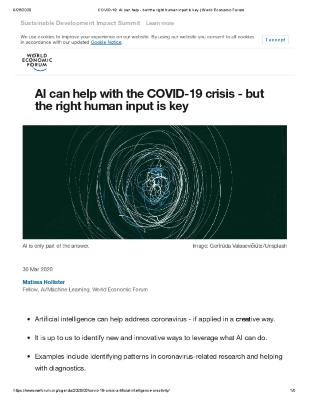 AI can help with the COVID-19 crisis - but the right human input is key