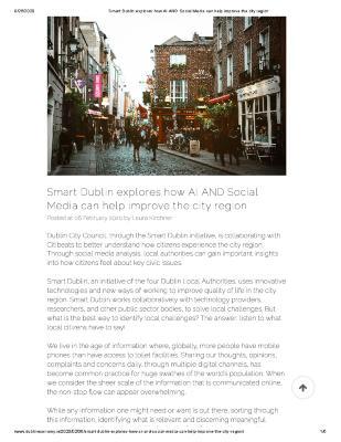 Smart Dublin explores how AI AND Social Media can help improve the city region
