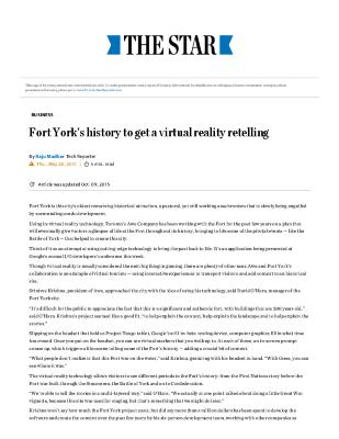 Fort York's History to Get a Virtual Reality Retelling