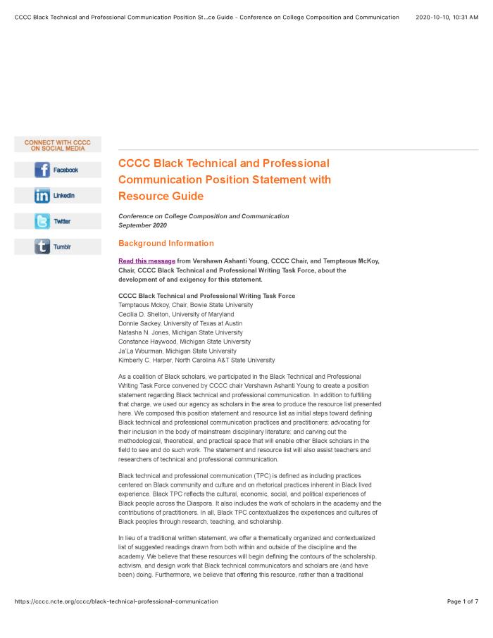 CCCC Black Technical and Professional Communication Position Statement with Resource Guide