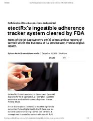 etectRx's ingestible adherence tracker system cleared by FDA