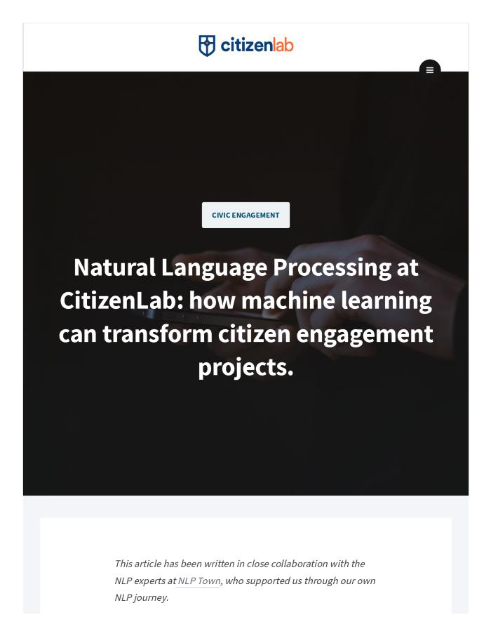 Natural Language Processing at CitizenLab: how machine learning can transform citizen engagement projects
