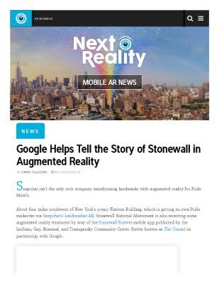 Google Helps Tell the Story of Stonewall in Augmented Reality