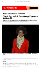 Timnit Gebru's Exit From Google Exposes a Crisis in AI