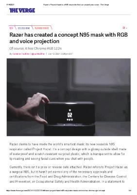 Razer has created a concept N95 mask with RGB and voice projection