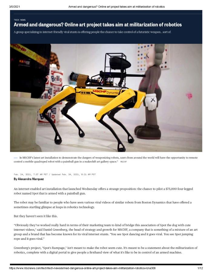 Armed and dangerous? Online art project takes aim at militarization of robotics