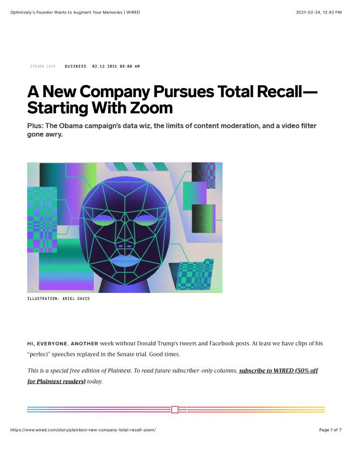A New Company Pursues Total Recall—Starting With Zoom