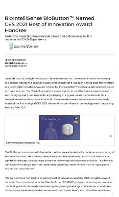 BioIntelliSense BioButton™ Named CES 2021 Best of Innovation Award Honoree