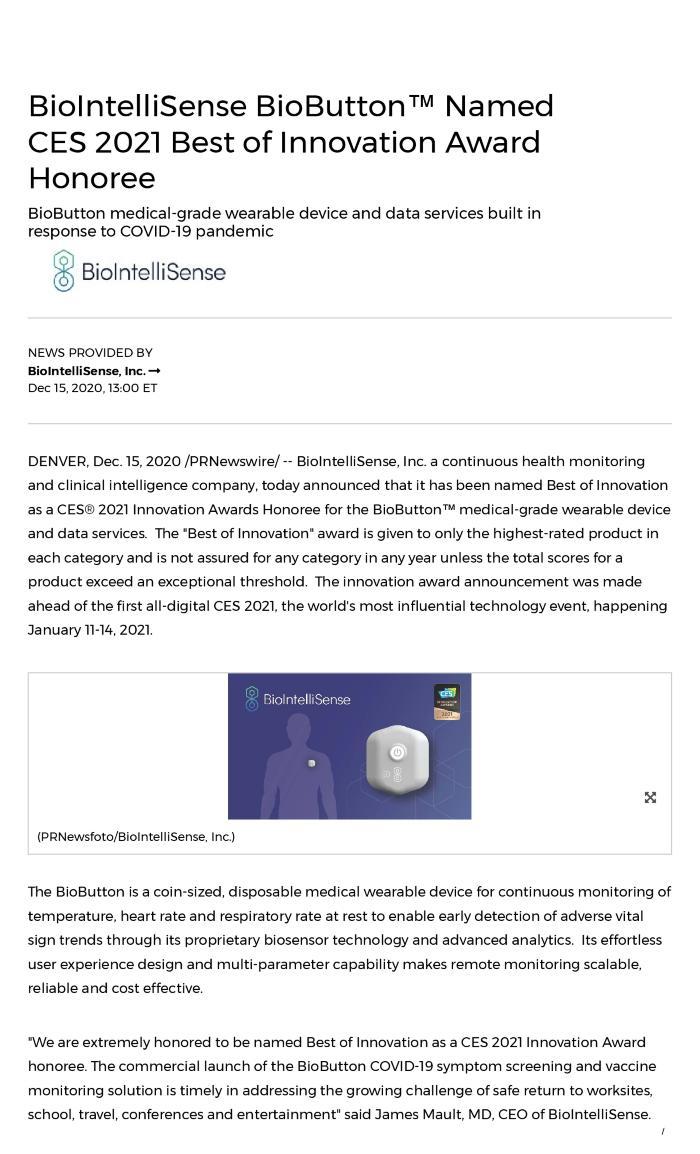 BioIntelliSense BioButton™ Named CES 2021 Best of Innovation Award Honoree