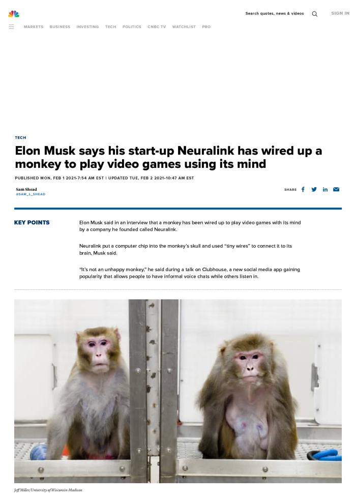 Elon Musk says his start-up Neuralink has wired up a monkey to play video games using its mind