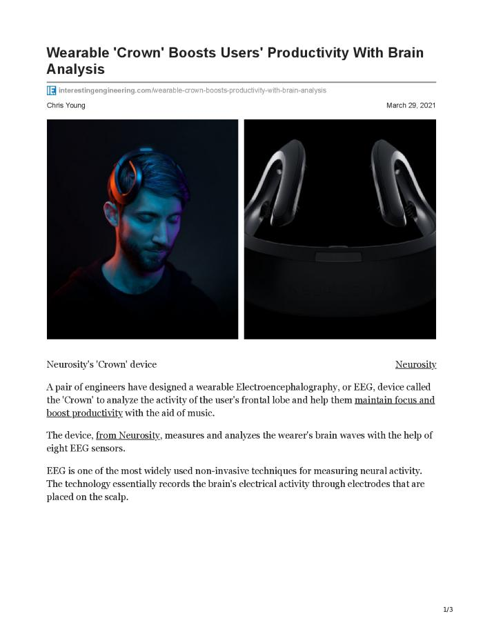 Wearable 'Crown' Boosts Users' Productivity With Brain Analysis