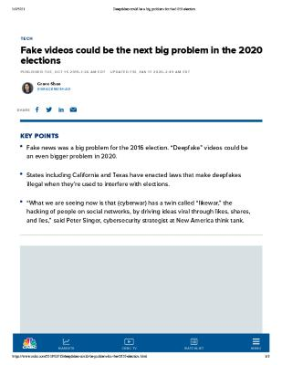 Fake videos could be the next big problem in the 2020 elections