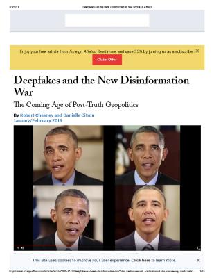 Deepfakes and The new disinformation war: The coming age of post truth geopolitics