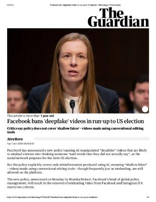 Facebook bans 'deepfake' videos in run up to US election